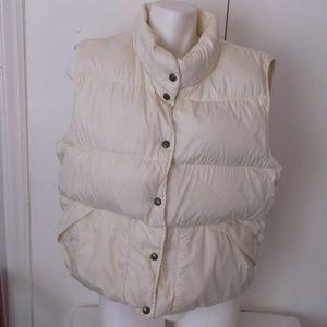 LL Bean Off White Down Vest XL